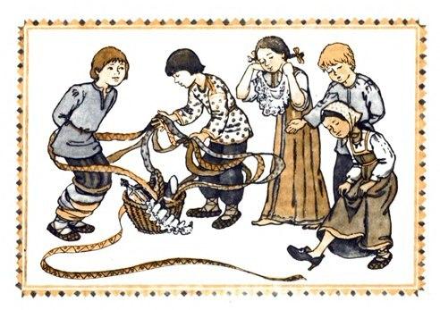русские народные древние словянские игры дети корзина с лентами