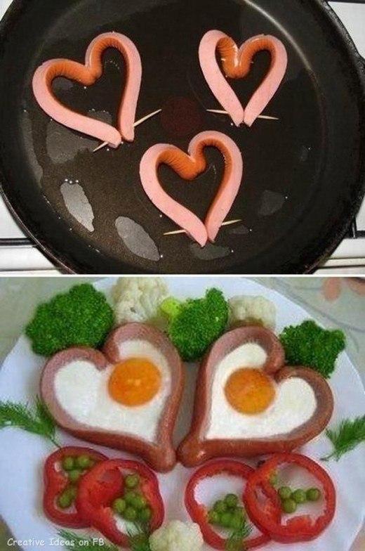 идеи для завтрака день Валентина из сосисок