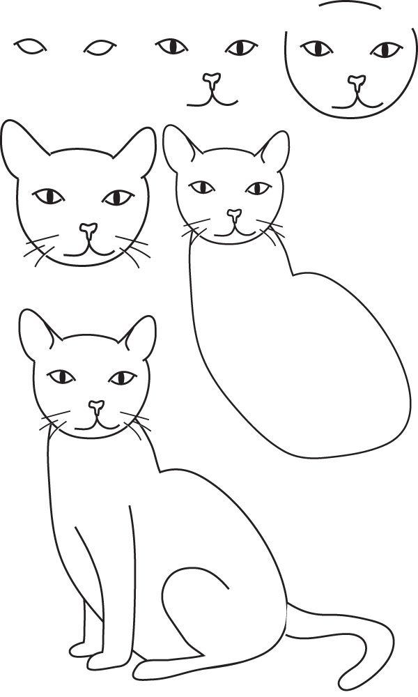 рисуем кошку поэтапно